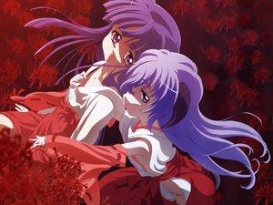 Rating: Safe Score: 16 Tags: furude_rika hanyuu higurashi_no_naku_koro_ni horns japanese_clothes miko purple_eyes purple_hair red User: Oyashiro-sama