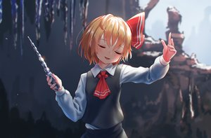 Rating: Safe Score: 48 Tags: blonde_hair blush bow roke_(taikodon) rumia short_hair tie touhou wand User: RyuZU