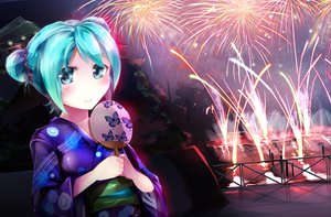 Rating: Safe Score: 79 Tags: aqua_eyes aqua_hair blush fan fireworks hatsune_miku japanese_clothes night short_hair silly_(marinkomoe) vocaloid User: FormX