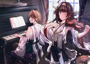Rating: Safe Score: 51 Tags: 2girls aliasing anthropomorphism antiqq brown_hair drink headband hiei_(kancolle) instrument japanese_clothes kantai_collection kongou_(kancolle) long_hair petals piano purple_eyes short_hair violin wink User: RyuZU