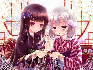 Rating: Safe Score: 32 Tags: 2girls black_hair brown_eyes gray_hair inagaki_miiko japanese_clothes kimono long_hair original red_eyes short_hair User: luckyluna