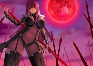 Rating: Safe Score: 60 Tags: armor bodysuit fate/grand_order fate_(series) jack_(darkshero) long_hair moon purple_hair red_eyes scathach_(fate/grand_order) skintight spear weapon User: otaku_emmy