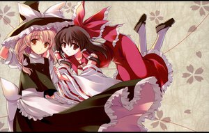 Rating: Safe Score: 44 Tags: black_hair blonde_hair hakurei_reimu hat japanese_clothes kirisame_marisa long_hair miko odawara_hakone red_eyes ribbons touhou witch yellow_eyes User: Oyashiro-sama