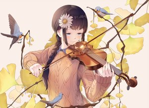 Rating: Safe Score: 76 Tags: animal aqua_eyes bird blush braids douyu_zhuan_qing flowers instrument long_hair original ponytail violin User: BattlequeenYume