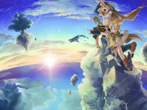 Rating: Safe Score: 46 Tags: animal blonde_hair cape clouds fish goggles junji kagamine_len kagamine_rin landscape magic male navel scenic short_hair sky thighhighs tree vocaloid water User: w7382001