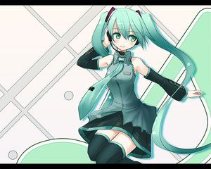 Rating: Safe Score: 40 Tags: hatsune_miku headphones tie twintails vocaloid User: anaraquelk2