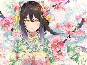 Rating: Safe Score: 47 Tags: animal_ears black_hair catgirl cherry_blossoms close flowers japanese_clothes kashiwazaki_shiori kimono long_hair petals princess_connect! waterring yellow_eyes User: RyuZU