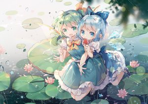 Rating: Safe Score: 48 Tags: 2girls blue_eyes blue_hair blush bow cirno daiyousei dress fairy flowers food green_eyes green_hair hug ponytail popsicle rokusai short_hair touhou water wings User: BattlequeenYume