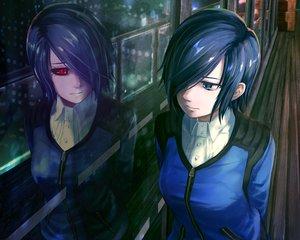 Rating: Safe Score: 86 Tags: blue_eyes blue_hair cropped dark kirishima_touka ranh reflection short_hair tokyo_ghoul User: RyuZU