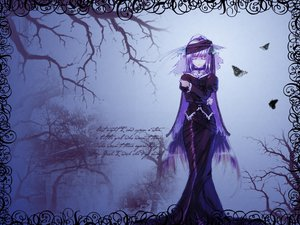 Rating: Safe Score: 35 Tags: blue butterfly collar dress gothic long_hair purple_hair tagme User: Oyashiro-sama