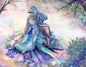 Rating: Safe Score: 69 Tags: aqua_eyes blonde_hair bow dress kazu_(muchuukai) long_hair original tree User: mattiasc02
