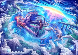 Rating: Safe Score: 64 Tags: 369minmin animal blue_hair boots clouds dress original pink_hair sky User: Flandre93