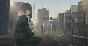 Rating: Safe Score: 93 Tags: building city headphones original scarf sunset tagme_(artist) User: RyuZU