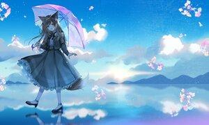 Rating: Safe Score: 42 Tags: aliasing animal_ears brown_hair clouds dress flowers foxgirl hazakura_konoha long_hair myusha reflection sky tail umbrella User: BattlequeenYume