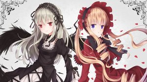 Rating: Safe Score: 101 Tags: 2girls blonde_hair blue_eyes bow collar dress feathers flowers goth-loli gray_hair headdress lolita_fashion long_hair petals red_eyes rin_yuu rose rozen_maiden shinku suigintou wings User: Jack_Frost