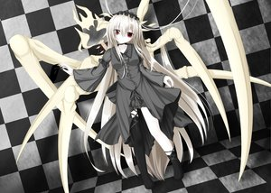 Rating: Safe Score: 83 Tags: dress goth-loli gray_hair lolita_fashion long_hair masiroke original red_eyes User: Wiresetc