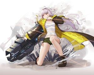 Rating: Safe Score: 34 Tags: aliceblue boots gray_hair gun last_origin long_hair pink_eyes shorts torn_clothes weapon User: RyuZU