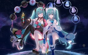 Rating: Safe Score: 54 Tags: aqua_eyes aqua_hair asahi_kuroi bell blush boots bow choker drums earth fan fang hatsune_miku instrument japanese_clothes lolita_fashion long_hair magical_mirai_(vocaloid) microphone planet ribbons signed space stars thighhighs twintails vocaloid wink User: Fepple