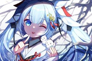 Rating: Safe Score: 32 Tags: animal aqua_eyes aqua_hair bird cat_smile chuor_(chuochuoi) close hatsune_miku japanese_clothes kimono long_hair twintails vocaloid wink yuki_miku User: BattlequeenYume