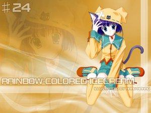 Rating: Safe Score: 10 Tags: animal_ears bell blue_eyes blush catgirl hat nanao_naru purple_hair rainbow_colored_icecream short_hair shorts tail thighhighs User: Oyashiro-sama