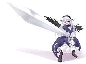 Rating: Safe Score: 3 Tags: purple_eyes rozen_maiden suigintou sword weapon white white_hair User: Oyashiro-sama