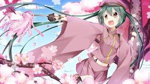 Rating: Safe Score: 145 Tags: brown_eyes cherry_blossoms flowers gloves hat hatsune_miku inumine_aya navel senbon-zakura_(vocaloid) skirt thighhighs twintails vocaloid zettai_ryouiki User: Flandre93
