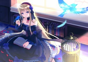 Rating: Safe Score: 72 Tags: animal bird blonde_hair blue_eyes book bow cage corset dress feathers flowers goth-loli lolita_fashion long_hair original rose tagme_(artist) User: BattlequeenYume