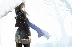 Rating: Safe Score: 85 Tags: black_eyes black_hair kikivi long_hair original pantyhose scarf seifuku skirt snow tree umbrella winter User: RyuZU