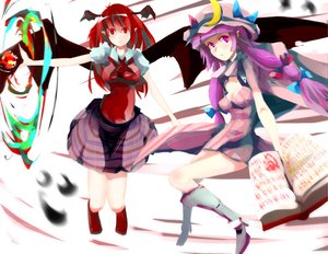 Rating: Safe Score: 30 Tags: 2girls book boots bow demon dress hat koakuma long_hair magic patchouli_knowledge pointed_ears purple_eyes purple_hair red_eyes red_hair skirt tatwuku touhou wings User: SonicBlue