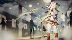 Rating: Safe Score: 188 Tags: boots green_eyes green_hair hatsune_miku long_hair pudding_(8008208820) scarf skirt snow thighhighs train twintails vocaloid when_the_first_love_ends_(vocaloid) winter User: FormX