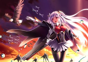 Rating: Safe Score: 39 Tags: animal anthropomorphism bird cape clouds gloves group long_hair mikoto_(mio) navel pantyhose purple_hair red_eyes skirt sky tagme_(character) twintails zhanjian_shaonu User: BattlequeenYume