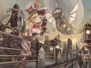 Rating: Safe Score: 60 Tags: aircraft blonde_hair boots bow breasts building cleavage clouds dress gloves hat lin.h original pantyhose sky weapon yellow_eyes User: BattlequeenYume