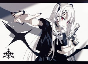 Rating: Safe Score: 72 Tags: beckzawachi collar gun original polychromatic red_eyes twintails weapon white_hair User: FormX