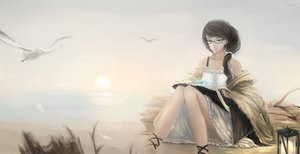 Rating: Safe Score: 73 Tags: animal bird black_hair book dress glasses kikivi long_hair original ponytail User: Flandre93