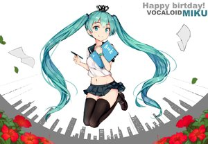 Rating: Safe Score: 61 Tags: aqua_eyes aqua_hair book building city crown flowers hatsune_miku leaves long_hair navel seifuku thighhighs twintails vocaloid wristwear zettai_ryouiki z_shichao User: RyuZU