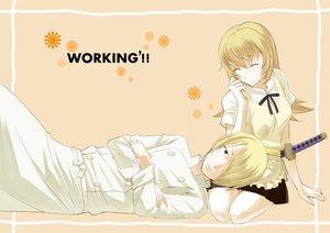 Rating: Safe Score: 36 Tags: apron blonde_hair katana rin2008 satou_jun sword todoroki_yachiyo weapon working!! User: opai