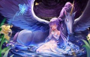 Rating: Safe Score: 65 Tags: animal anthropomorphism azur_lane cannian_dada dress horse pegasus unicorn_(azur_lane) water User: BattlequeenYume