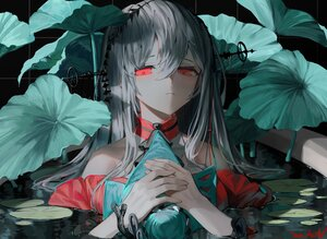 Rating: Safe Score: 56 Tags: a0lp arknights close gray_hair leaves long_hair polychromatic red_eyes signed skadi_(arknights) water User: BattlequeenYume