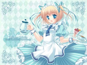 Rating: Safe Score: 57 Tags: allegro_mistic blonde_hair blue blue_eyes maid original ribbons tagme tie twintails watermark User: xctman