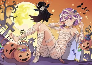 Rating: Safe Score: 86 Tags: blush bondage candy fate/grand_order fate_(series) halloween helena_blavatsky_(fate) lollipop pumpkin purple_eyes purple_hair red_eyes ryan_edian short_hair tree wink User: BattlequeenYume