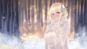 Rating: Safe Score: 81 Tags: aqua_eyes blonde_hair blush boku_wa_tomodachi_ga_sukunai breast_hold breasts cait forest gloves kashiwazaki_sena long_hair snow tree winter User: BattlequeenYume