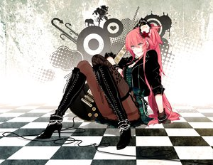 Rating: Safe Score: 121 Tags: boots dress guitar instrument katase_waka long_hair megurine_luka pantyhose pink_hair ponytail vocaloid User: Tensa