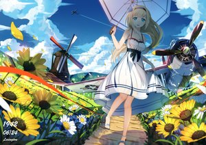 Rating: Safe Score: 103 Tags: aircraft aqua_eyes blonde_hair breasts cleavage clouds dress flowers headband lexington long_hair lu'' necklace ponytail sky summer_dress umbrella windmill zhanjian_shaonu User: Wiresetc