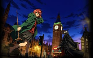 Rating: Safe Score: 51 Tags: boots building car city clouds ellias_ainsworth green_eyes hatori_chise horns mahou_tsukai_no_yome red_hair scenic short_hair sky tagme_(artist) wand User: RyuZU