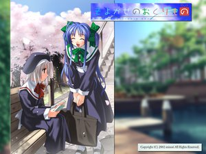 Rating: Safe Score: 6 Tags: blue_hair gray_hair long_hair narukaze_minamo school_uniform tsukishiro_hikari twintails wind:_a_breath_of_heart User: Oyashiro-sama