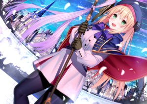 Rating: Safe Score: 77 Tags: akusema aliasing artoria_pendragon_(all) artoria_pendragon_(caster) blonde_hair building fate/grand_order fate_(series) green_eyes hat long_hair tree twintails User: BattlequeenYume
