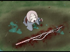 Rating: Safe Score: 49 Tags: bleach blood japanese_clothes kusajishi_yachiru pink_hair rain short_hair sword water weapon User: Oyashiro-sama