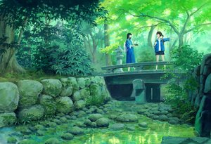 Rating: Safe Score: 30 Tags: 2girls black_hair blue_eyes dress forest long_hair original sawitou_mizuki scenic shorts tree water User: RyuZU