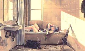 Rating: Safe Score: 64 Tags: anthropomorphism bath bathtub breasts byori girls_frontline gloves gray_hair green_eyes gun hat hk416_(girls_frontline) mirror reflection water weapon User: Nepcoheart