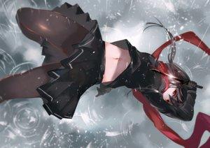 Rating: Safe Score: 108 Tags: black_hair knife long_hair navel original pantyhose rain red_eyes scarf seifuku vardan water weapon User: RyuZU